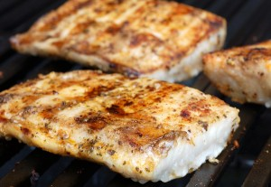 grilled barbecued halibut